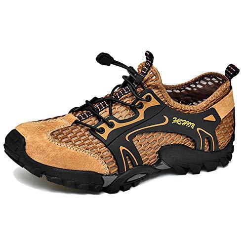 SXQSNKJ Zapatos Descalzos Zapatos para Correr para Agua para Hombre Zapatillas de Deporte Zapatos Ligeros Zapatos de baño para la Playa Zapatos Casuales,Brown-44(UK9.5)