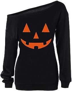 Womens Halloween Shirt Pumpkin Sweatshirt Halloween Off Shoulder Sweatshirts Long Sleeve Slouchy Pullover Tops