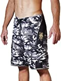 Maui Rippers Men's Camo Board Shorts - Embroidered Octopus | Quick Dry Triple Stitch Swim Trunks