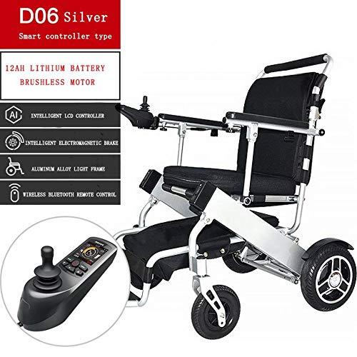 Ultraleicht Tragbares Drahtlose Fernbedienung Aluminiumlegierung Falt Lithium Elektrischer Rollstuhl Behinderter Älterer Roller Kann Das Flugzeug An Bord,Silber,Einheitsgröße