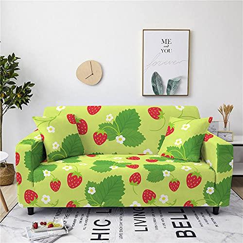 QYQMYK Sofabezug Für Sofa,Elastizität Cartoon Strawberry Wohnzimmer Elastizität Sesselbezug,Stretch Anti-Rutsch Durable Couchbezüge,Mode Maschinenwaschbar Anti-Falten-Sitzbezug,2,Sitzer(145,