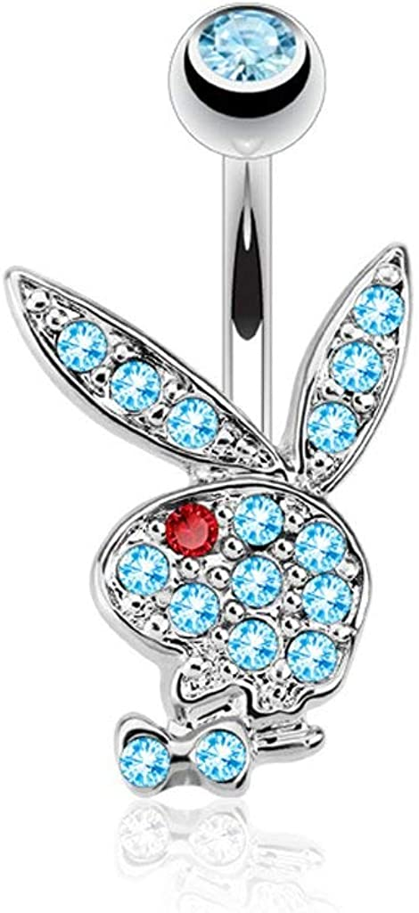 Forbidden Body Jewelry Surgical Steel Pave Crystal CZ Playboy Belly Ring (Choose Color/Style)