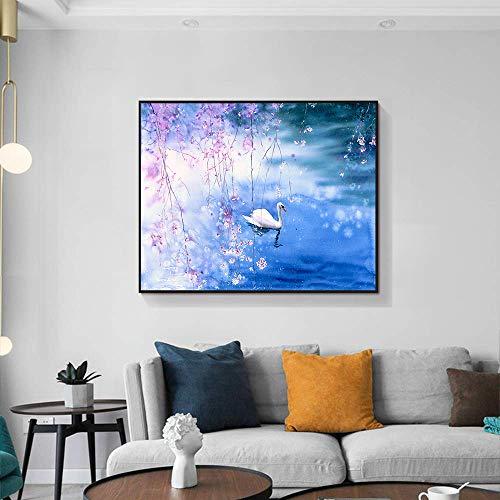 Canvas schilderij kalligrafie romantische zwaan landschap poster en print muurschildering verfraai de woonkamer 60x48cm geen