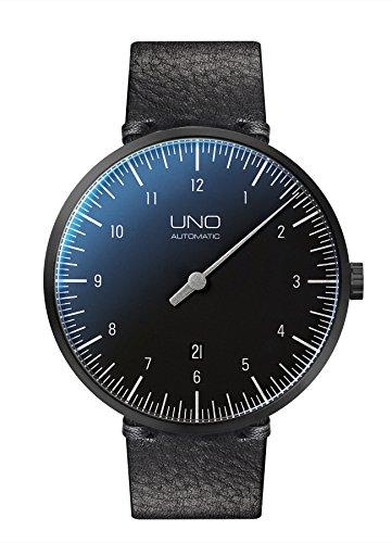 Botta-Design UNO+ Automatik Armbanduhr - Einzeigeruhr, Edelstahl, Lederband (44 mm, Black Edition)