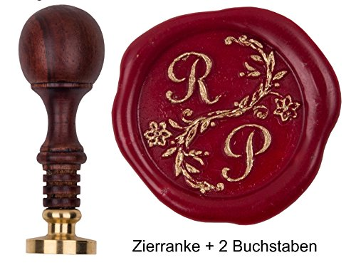 Siegelstempel Initialen Script MD 2 Buchstaben + Zierranke Petschaft Teakholz