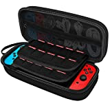 JETech Carrying Case for Nintendo Switch with 20 Game Cartridge Holders, Black