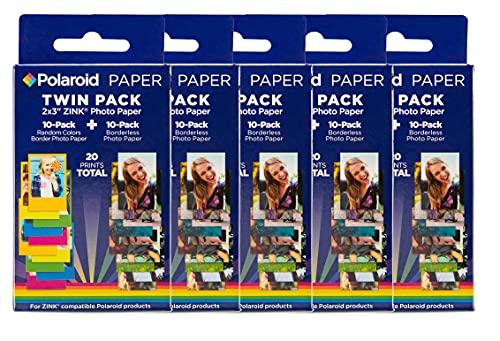 Polaroid Premium Papier Zink (Paquet de 50 Feuilles) Compatible avec les appareils photo Polaroid Snap, Mint, Z2300 et Polaroid Imprimante instantanée Zip et Mint 5 x 7,6 cm.