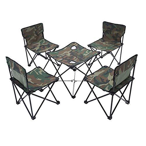 1yess Fünf-Stück im Freien Klapptisch und Stuhl Set, Tarnung Oxford Tuch, Aluminiumlegierung Material, Sturdy beständige haltbare verschleißfest, for Outdoor-Camping Strand Barbecue 8bayfa