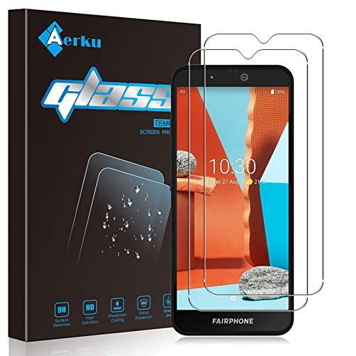 Aerku Protector de Pantalla para Fairphone 3 Plus [2 Piezas], 9H Dureza Alta Sensibilidad 2.5D [Sin Burbujas] Cristal Templado Protector de Pantalla para Fairphone 3 Plus[Transparente]