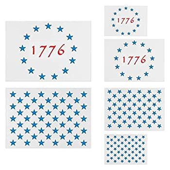 American Flag Star Stencil Templates - 6 Pack 50 Stars 1776 13 Stars Flag Stencils for Painting on Wood and Walls Reusable Plastic Stencils in 3 Sizes for Wood Burning & Wall Art