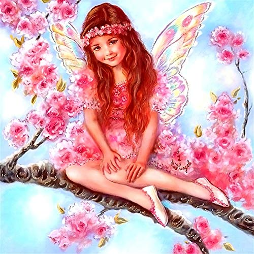 5D diy pintura diamante bordado taladro completo kit adultos niño angel girl en el árbol Imagen Ronda Crystal Rhinestone Diamond Painting punto cruz Salon Dormitorio Pared art para casa 50x70cm a1864