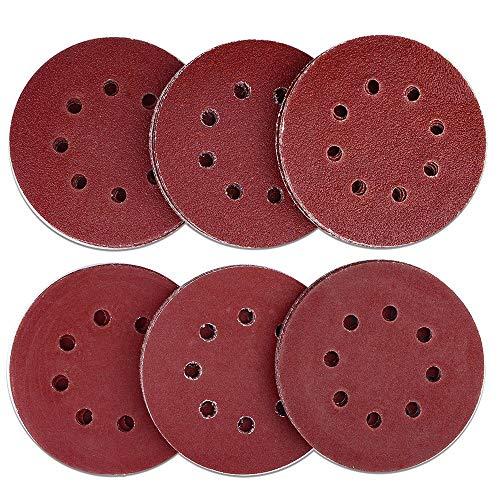 HIFROM 60 Pieces 8 Holes Sanding Discs 5 Inch Hook and Loop 40 Grit Sandpaper Assortment for Random Orbital Sander Grinder Pads