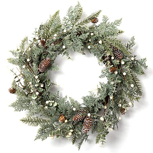 """LOHASBEE Artificial Christmas Wreath, 24"""" Pine Cone Grapevine Flocked Glitter Fir Wreath with White Berries for Christmas Home Front Door Hanging Wall Window Decor"""