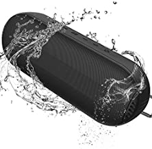 MANTO Durable Bluetooth Speaker, Portable Outdoor Wireless with Hi-Fi Stereo Sound and Rich Bass, 20-Hour Playtime, Built-in Mic AUX & SD Input for iPhone Samsung PC, IPX6 Waterproof Black