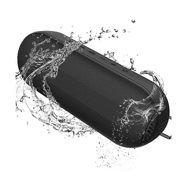 Durable Bluetooth Speaker, Portable Outdoor Wireless with Hi-Fi Stereo Sound and Rich Bass, 20-Hour Playtime, Built-in Mic AUX & SD Input for iPhone Samsung PC, IPX6 Waterproof Black 3