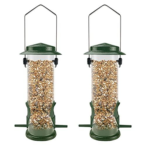 MIXXIDEA Metal Wild Birds Feeders 2 Packs Tube Bird Feeder Stainless Steel Hanging Bird Feeder for Garden Backyard Outside Decoration Attracting Wild Finch, Thistle, Cardinal(Green)
