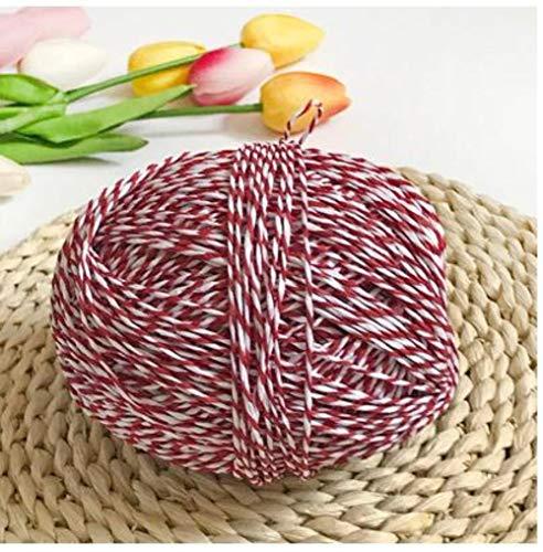 LINFA 100 g/Lotto Filato Organico per Maglieria in Rafia Filato di Corda di Paglia Filato Uncinetto Solido per Cappelli Fatti a Mano cesti Artigianato, 8 Bianco Rosso