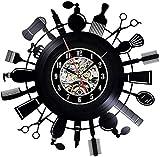 Wjchao Reloj de Pared con Registro de Vinilo Shopping Haven Cosmética Perfumería Tienda Decorativa Reloj de Vinilo Decoración para el hogar Reloj silencioso de 12 Pulgadas