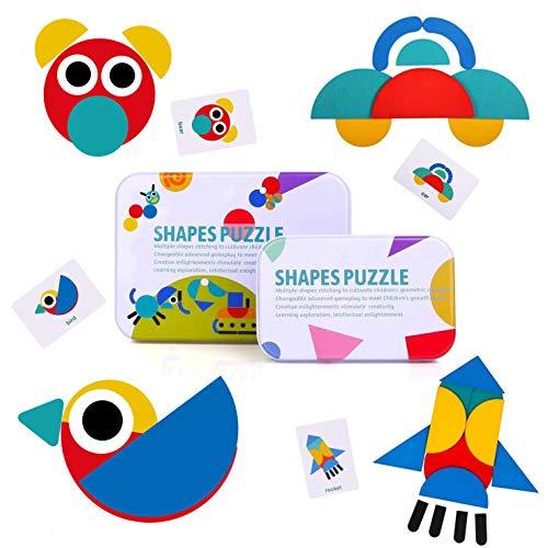 BBLIKE Tangram Madera, 36 Montessori Puzzle de Madera + 60 PCS Diseño Tarjetas de Apilamiento...