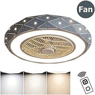 46W Luz de Techo con Ventilador, Creativa Ventilador de Techo con Luz y Mando a Distancia Silencioso Reversible Luces de Techo Puede Sincronizar Sala de Estar Lámpara de Dormitorio,Azul