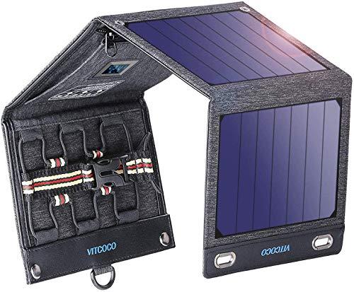 ソーラーチャージャー 16W 2USBポート VITCOCO ソーラー充電器 ソーラーパネル 4枚ソーラーパネル 折りたたみ式 太陽光発電 iPhone、Android 各機種対応 ソーラーパネル 災害/旅行/アウトドアに大活躍