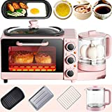 4 in 1 Home Small Breakfast Machine, Multifunction Vintage Countertop Toaster Oven, Electric Smart...
