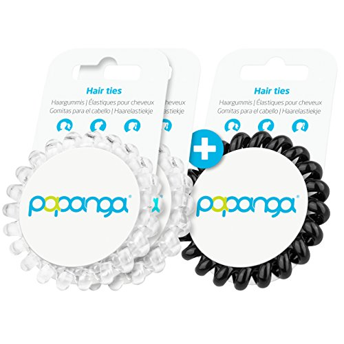 Original Papanga® Spiral Haargummis, 2+1 Vorteils-Pack, Classic Edition, Größe: Big, Farben: 2 x Diamond + 1 x Black