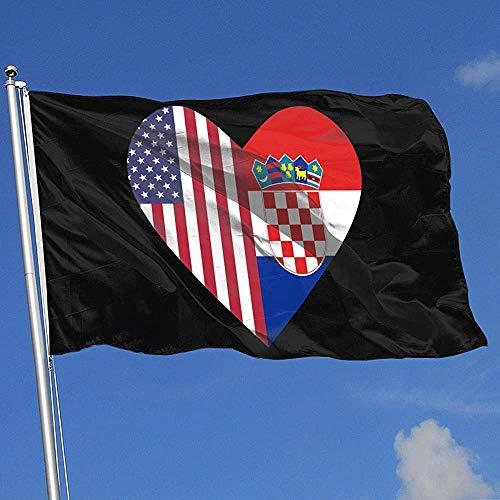 Qinzuisp bloemen vlag half Kroatië vlag half VS vlag liefde hart banner met oogjes levendig vakantiehuis vlag Yard Flag polyester druk Yard Banner 150X90Cm