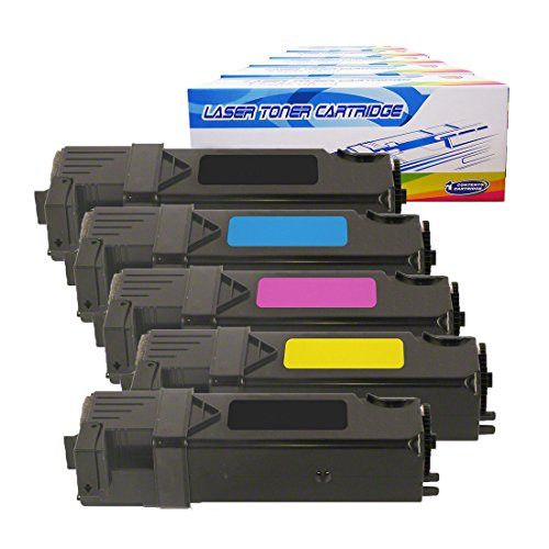 Inktoneram Compatible Toner Cartridges Replacement for Dell 2150/2155 2155cdn 2155cn 2150cdn 2150cn 331-0719 331-0716 331-0717 331-0718 ([2-Black,Cyan,Magenta,Yellow], 5-Pack)