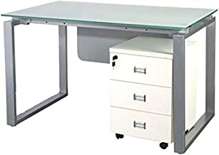 Mahmayi Glass Modern Workstation Desk, 120 x 75 x 75cm, White, ME4112WH
