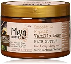 Maui Moisture Smooth & Repair + Vanilla Bean Anti-Frizz Hair Butter Treatment to Deeply Hydrate & Restore Dry, Thick, Coarse, Curly & Natural Hair, Vegan, Silicone- & Paraben-Free, 12 oz