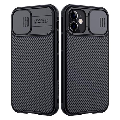 NILLKIN Funda Compatible con iPhone 12 Mini, [Protección de la cámara] Estuche híbrido Parachoques Premium no voluminoso Delgado Funda rígida para PC Compatible con iPhone 12 Mini 5.4 Pulgada-Negro