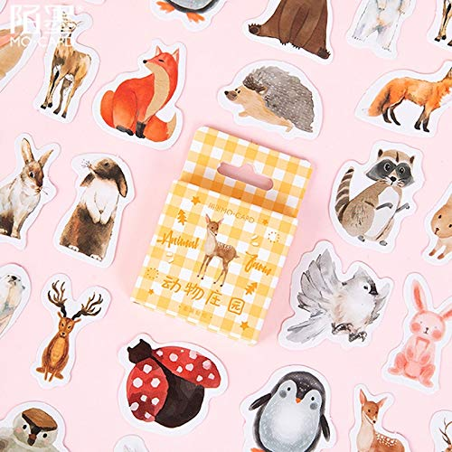 46 Stück/Packung Kawaii Cute Animal Manor Kleine kreative süße Dekoration Boxed Diary Stickers Schulbedarf