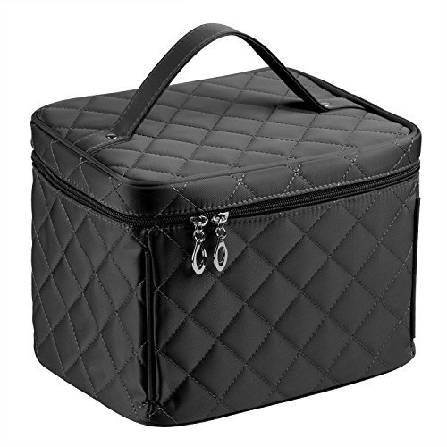 Big Size Cosmetic Bag For Makeup Travel Makeup Bags Clear Mirror Single Layer Large Storage Space (Black)