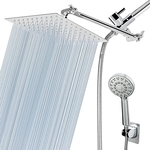 HarJue Shower Head Combo with 11'' Extension Arm,High Pressure 8' Square Rain Shower Head with 5 Settings Adjustable Handheld Shower Spray and Holder/ 1.5M Hose,Dual Rainfall Showerhead Set,Chrome