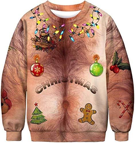 CZ-SQG Unisex suéter de Navidad 3D impresión Digital de Gran tamaño Sueltos de Cuello Redondo de la Camiseta de Manga Larga con cordón Jumper (Size : L)