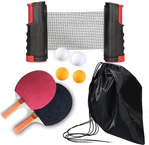 Tafeltennisracket set-2 tafeltennisracket telescoopnetten 4 tafeltennis opbergdozen geschikt voor binnen of buiten
