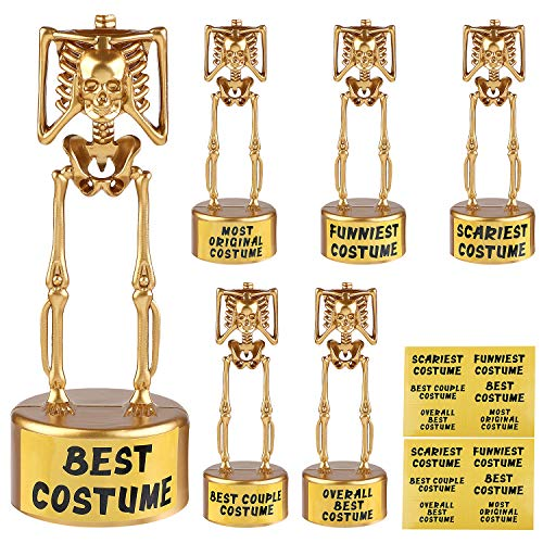 URATOT 6 Pack Halloween Costume Skeleton Plastic Gold Trophies, 6.1 x 2.1 Inches for Halloween Costume Contest Party Awards