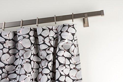 InCasa Gardinenstange 31x12 mm: Länge: 200 cm, rechtwinklig gebürsteter Edelstahl - komplett