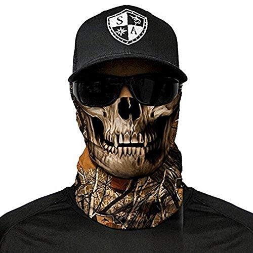 Sa Fishing Outdoor Herren Face Shield mit UV Schutz (Forest Camo Skull)