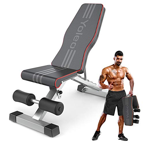 YOLEO Commercial Weight Bench, Adjustable Strength Training Bench for Full Body Workout with Fast Folding- Latest Model