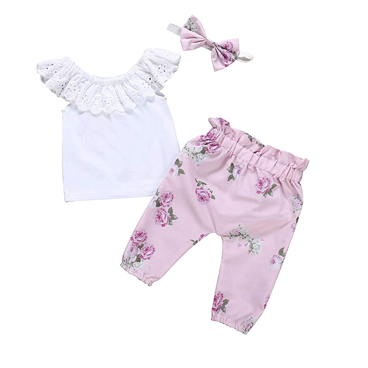 Baby Three-Piece Girls Sleeveless Solid Color Lace Collar Tops+Floral Pants Trouser+Headband,SIN vimklo