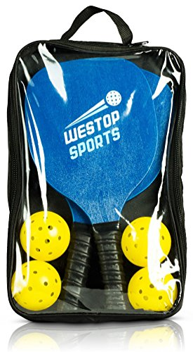 Westop Sports Pickleball Paddle Set - Bundles Include 2 Pickleball Paddles, 4 Outdoor/Indoor Balls, 1 Premium Gear Bags - Best Racket Set for Beginners - Includes eBook w/Rules and Tips