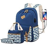 Misognare Girl's School Backpack Set (Navy)