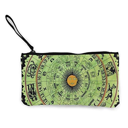 Zodiac Horoscope Womens Leinwand Münzgeldbörse Geldbörse ändern Beutelkartenhalter Telefon Brieftasche Aufbewahrungstasche, Pencil Pen Case