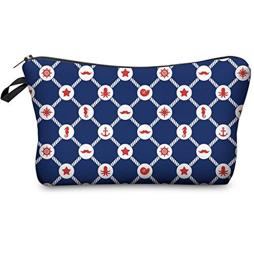 PREMYO Kosmetiktasche Klein für Handtasche - Schminktasche Damen Make Up Tasche - Federmappe Mädchen Etui Maritim