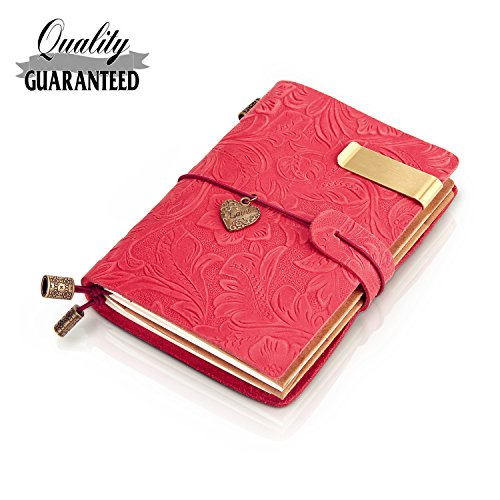 Refillable Handmade Traveler's Notebook, Leather Travel Journal Notebook Vintage Notebook for Men & Women, Perfect for Writing, Gifts, Travelers, Small Size 5.3' x 4' Inches -Red