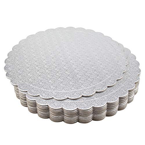 Tebery - Juego de 15 tablas redondas para tartas (25,4 cm), color plateado