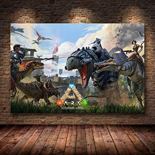 manyaxiaopu Ark Survival Evolved Poster Spiel 2018 Leinwand Poster Dekorative Wandmalerei Tapete Wohnzimmer Dekor Rahmenlose Malerei A28 40X50Cm