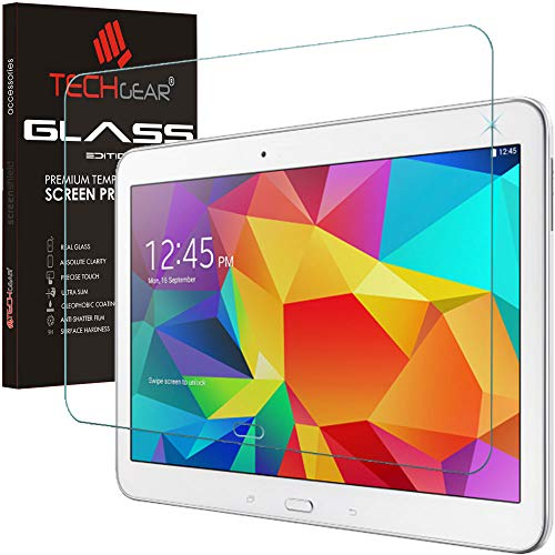 TECHGEAR Screen Protector for Galaxy Tab 4 10.1 Inch (SM-T530 Series) - GLASS Edition Genuine Tempered Glass Screen Protector Guard Cover Compatible with Samsung Galaxy Tab 4 10.1 Inch